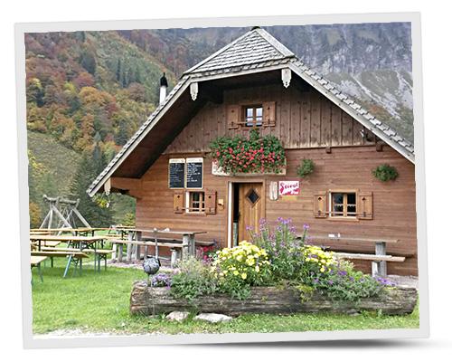 Einkehren Gruberalm Hütte Hinterleitn